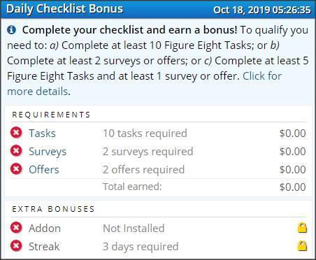 ySense Taski daily checklist bonus jak odebrać dzienny bonus poradnik